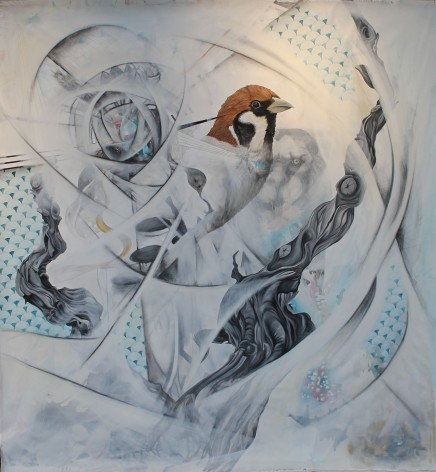 "FOR THE ANIMAL MANUFACTURES THE DAY. 2014. acrylic, charcoal, ink, and gouache on canvas. 90"" X 90""."